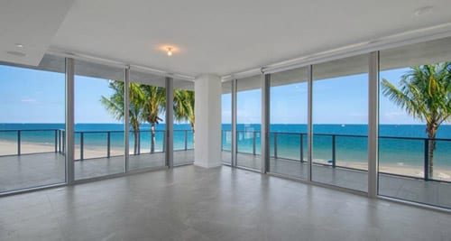 Unit N205 living room area with ocean view